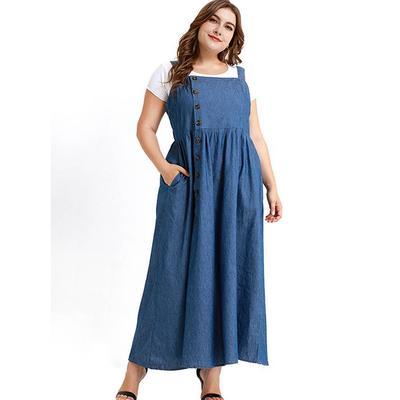 0c9b8363084 Плюс размер женская макси рукавов джинсовая дамы случайные партии джинсы  платье