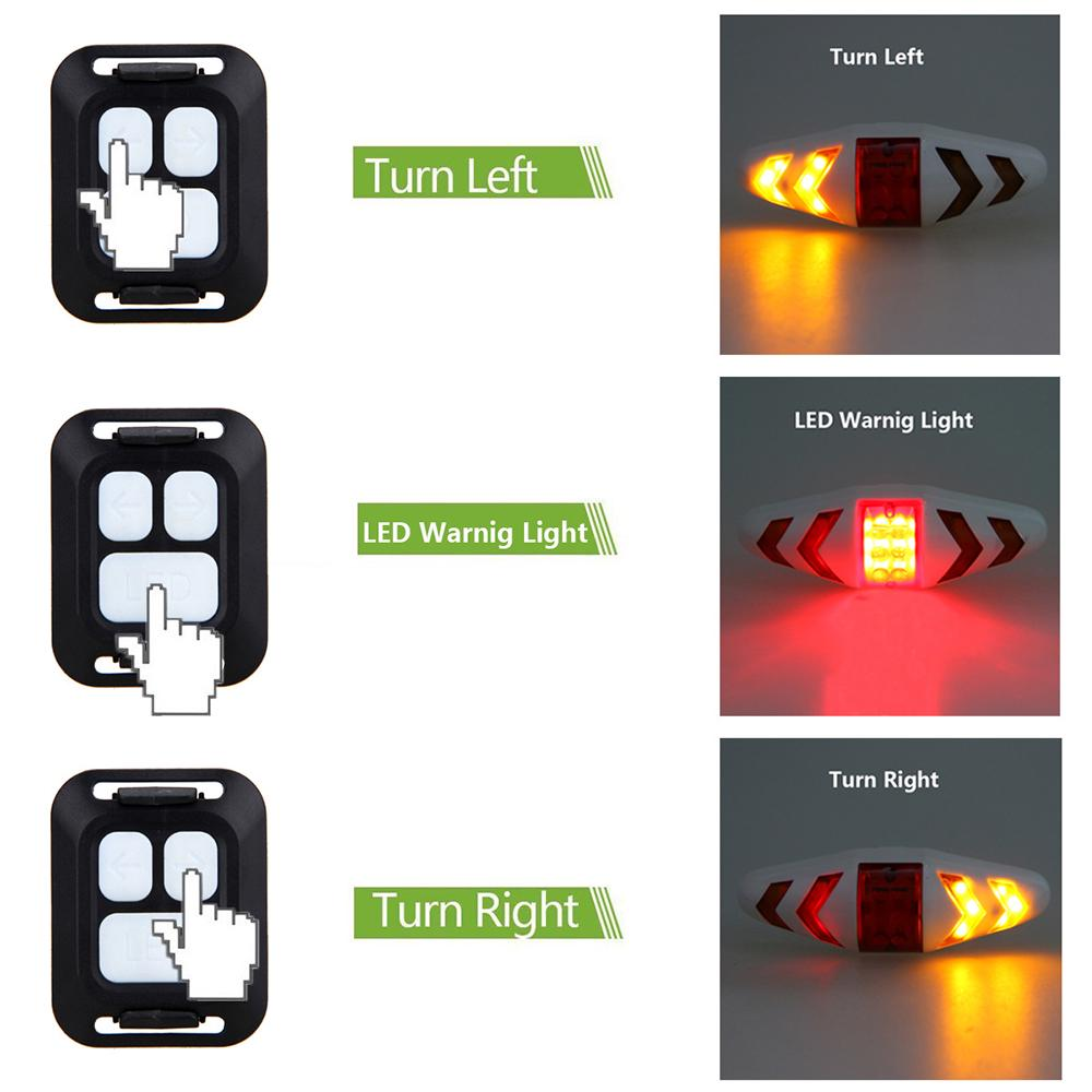 Wireless Bicycle Bike Rear LED Tail Brake Light Turn Signal Lamp Remote Control
