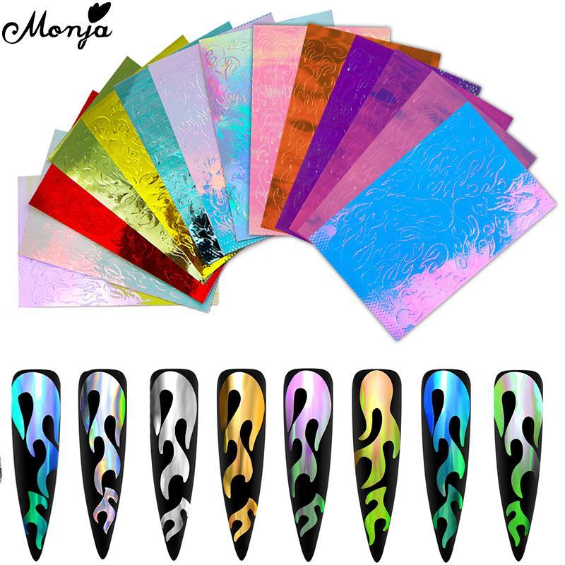 Monja 3D Голографическое пламя ногтей искусство клей наклейка Полая Stencil Wrap Декалы Декали декала фото