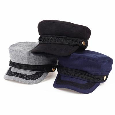 Sailor Cap Lady Fashion Retro Flat Top Hats Autumn and Winter Warm Beret