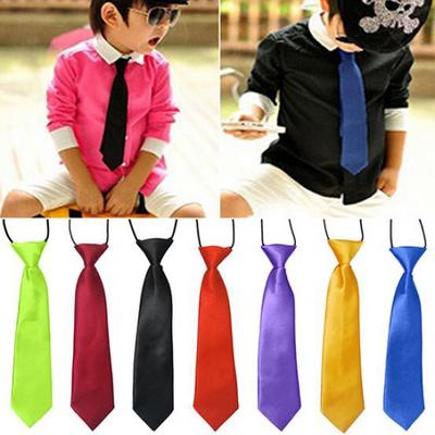 Kid Boy Children Pre Tied Plain Satin bow tie Wedding Party Fancy Dress