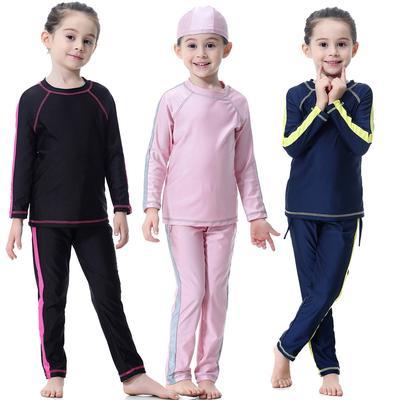 Girls Islamic Muslim Swimwear Modest Fit Burkini Full cover Kids Two piece Arab