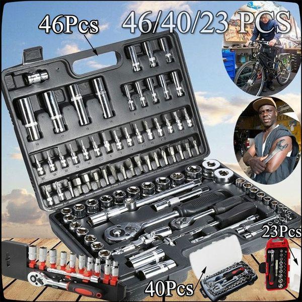 46pcs спиральную Socket 1/4 дюймовый диск набор Ratchet ключ инструменты комплект для ремонта авто – купить по низким ценам в интернет-магазине Joom