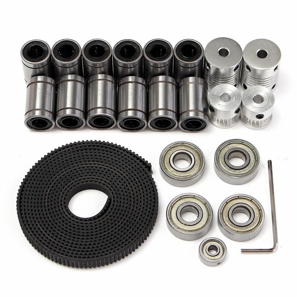 2M 3D Printer GT2 Timing Belt+Aluminum Pulley+Coupler Shaft+LM8UU+608ZZ+624ZZ