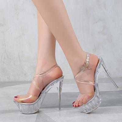 cb530cf8f5e Cute Women High Heel Sandals Sexy Crystal Transparent Shoes Fish head High  Platform