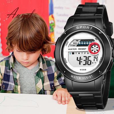 Fashion Boy Girl Kids Alarm Hourly Chime Backlight Stopwatch
