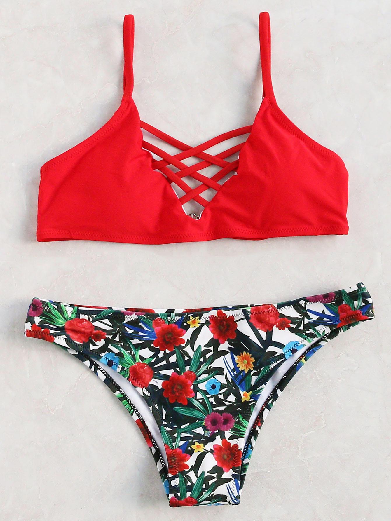 比基尼新款爆款纯色印花欧美外贸性感清仓分体女士泳衣