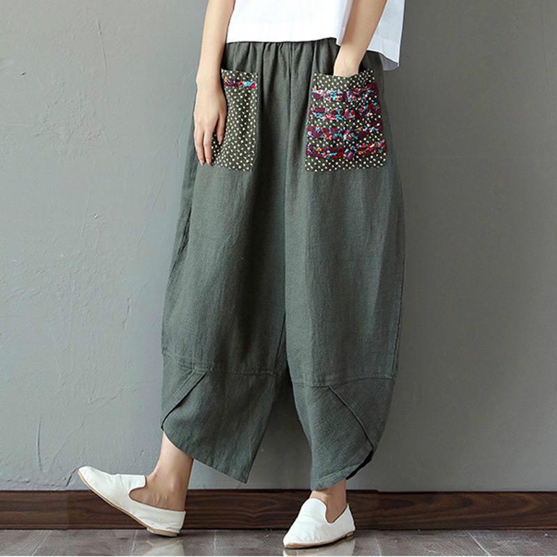 Women New Wide Leg Cotton Linen Long Pants Elastic Waist Casual Trousers Retro D