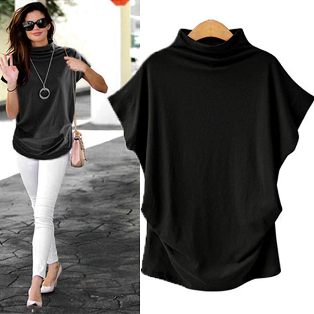 Women Turtleneck Short Sleeve Blouse Cotton Solid Casual Tops Plus Size T Shirt
