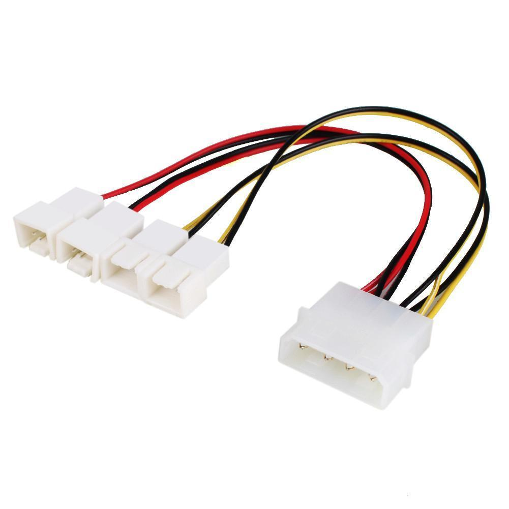 Fan Adapter Cable 4 Pin Molex To 4x 3 2x 5 Volt 12 015m Sata Signal And Power One Combo Connect Accessories Cables Adapters Sockets 1 Of