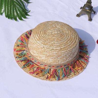 Summer Straw Hat Weaving Sweet Retro Kid Sun Hat Beach Parent-Child Hat Straw Hat