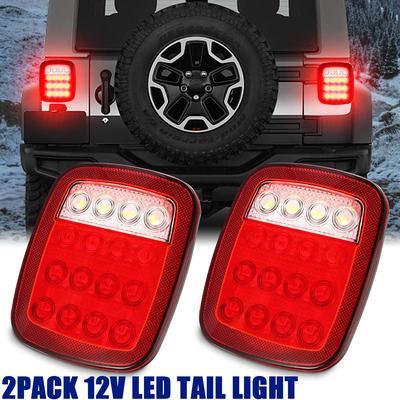 2 Pcs Car Auto White LED Rear Back Up Reverse Tail Light Lamp DC 12V
