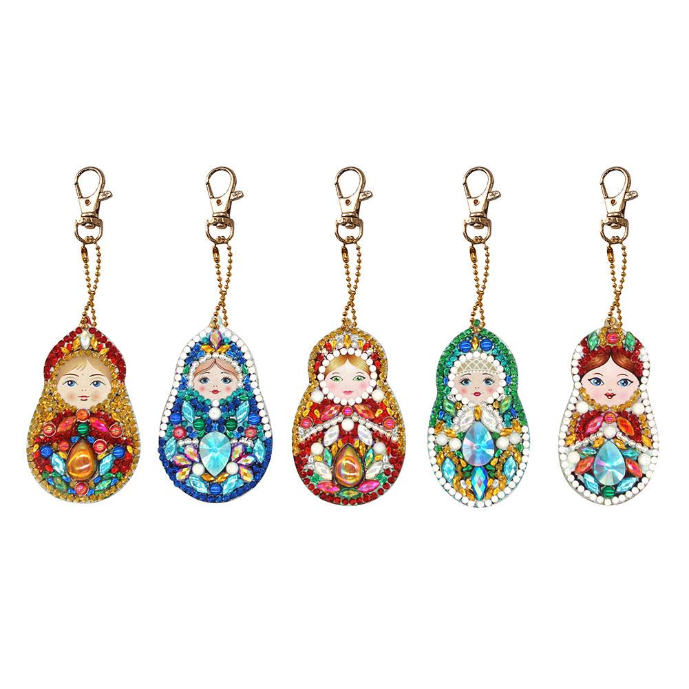 5pcs DIY Full Drill Special Shaped Diamond Painting Seahorse Keychain Craft Gift