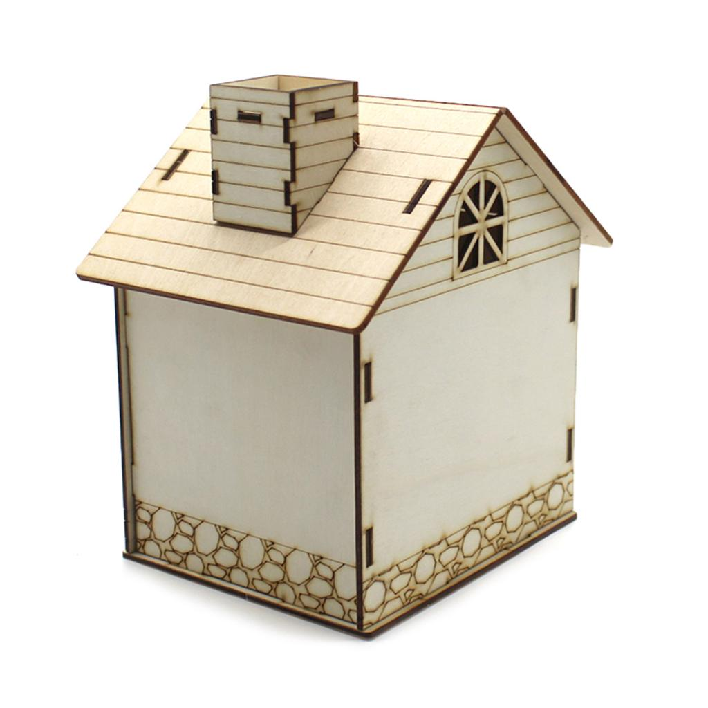 Creative Wooden Villa Box Piggy Bank Money Box w//Night Light Toy Home Ornament