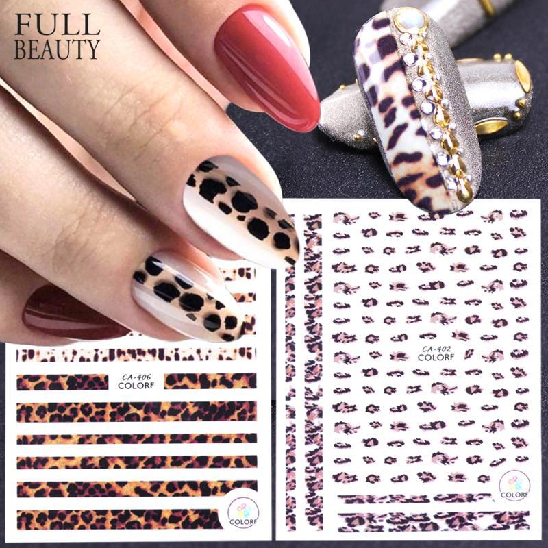 3D ногти наклейки Леопард Self adhesive женщин слайдер Декалис для ногтей украшения искусства
