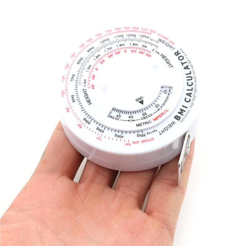 BMI Body Mass Index Retractable Tape 150cm Measure Calculator Accurate Home Use