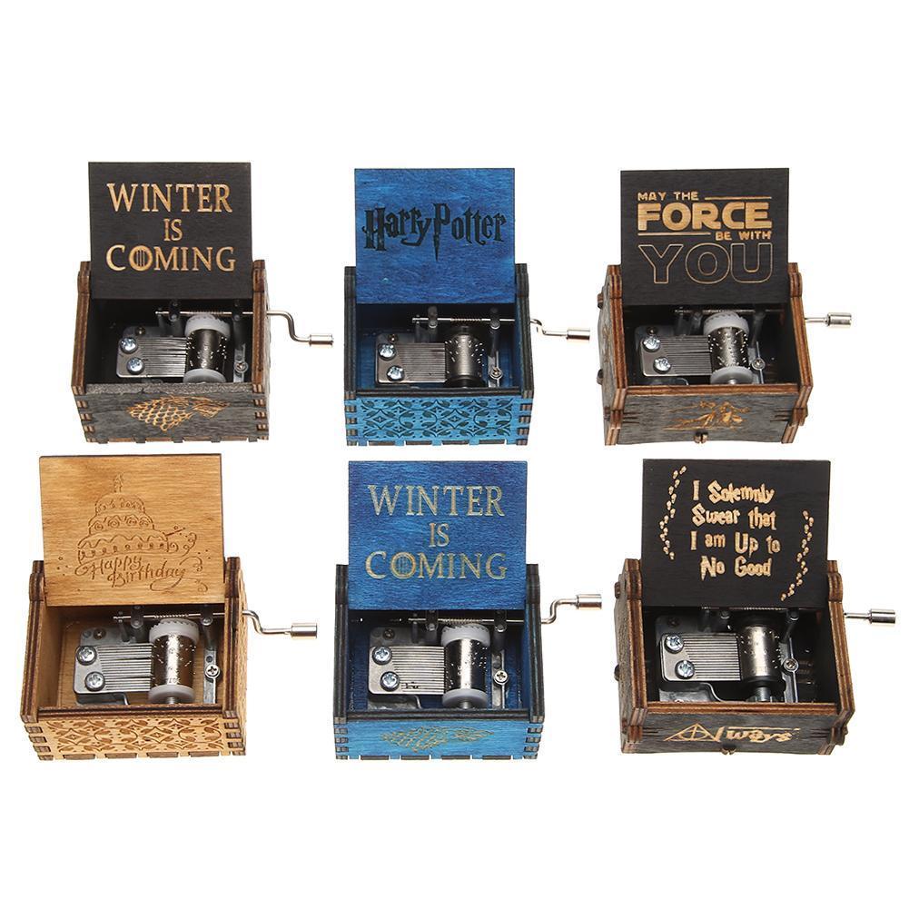 Античные резные деревянные руки кривошипно Music Box день рождения подарки украшение украшения фото