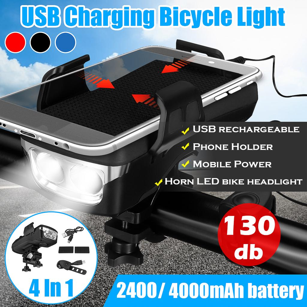 4in1 Black Bicycle Waterproof LED USB Rechargeable Highlight Horn Phone Bracket