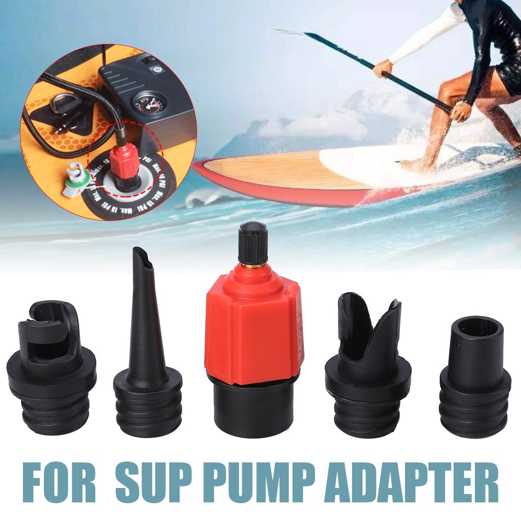 Surfboard,Inflatable Bed Inflatable SUP Pump Valve Adapter Set Standard Schrader Air Valve Adapter with Valve Installation Tool and Nozzle Air Pump Converter for Kayaking