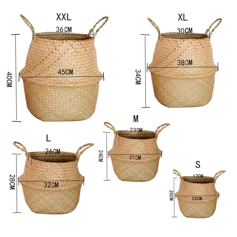 Foldable Seagrass Woven Belly Wickerwork Basket Plant Laundry Storage Bag Holder