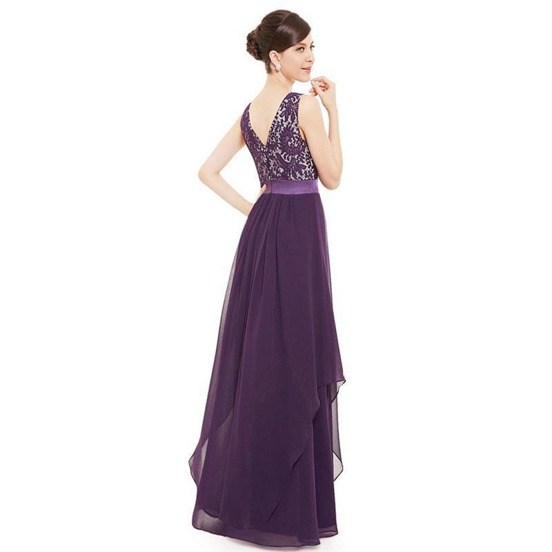 Encaje Maxi largo vestidos de Dama de honor vestido de noche Formal ...