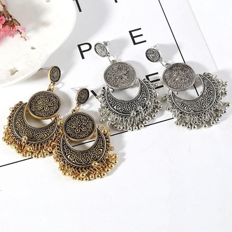 Pendientes Earrings For Woman Drop Long Bohemia Retro Ethnic Pendant Jewelry S3
