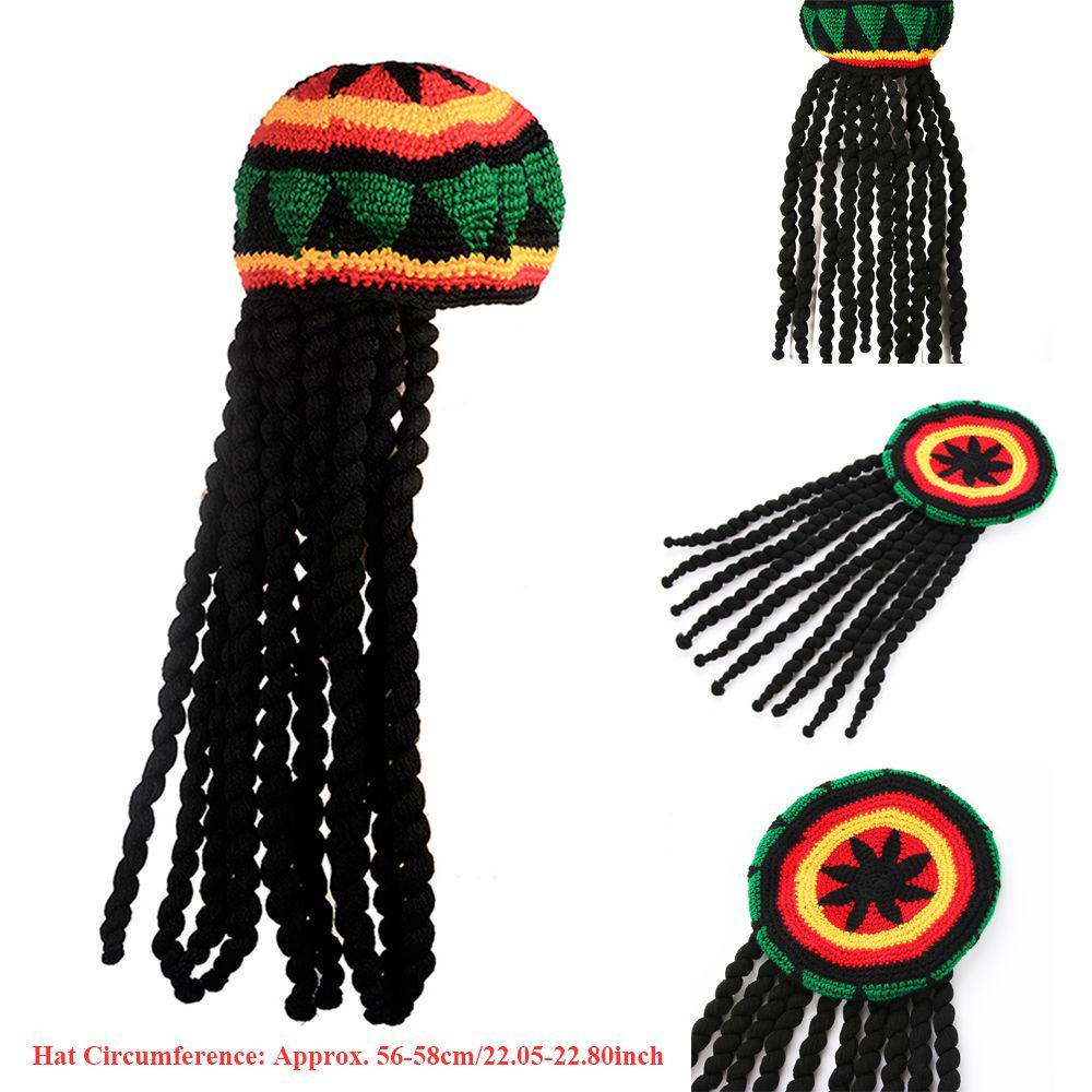 Rasta Reggae Beanie Hat w Dreadlocks Bob Marley Costume Dress Jamaican Wig