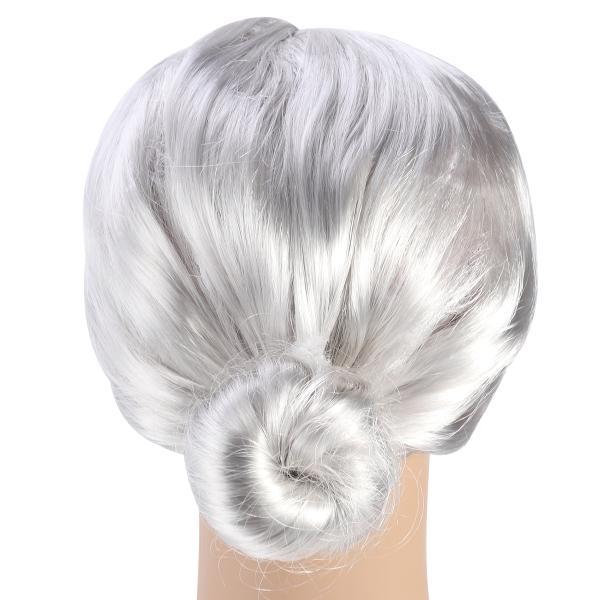 1PC Grandma Silver Gray Old Lady Granny Costume Cosplay Women Wig Bun Apply