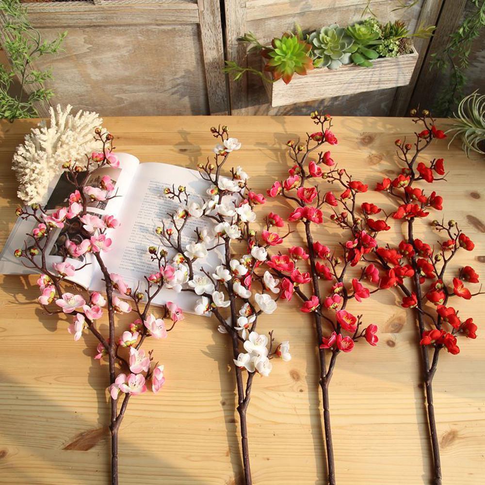 Artificial Silk Fake Flowers Plum Blossom Floral Wedding Bouquet A Party Decor 9