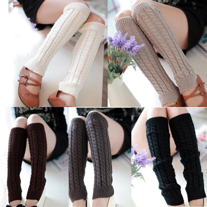 Women Winter Warm Leg Warmers Stretch Knit Knitted Crochet Long Socks Stockings