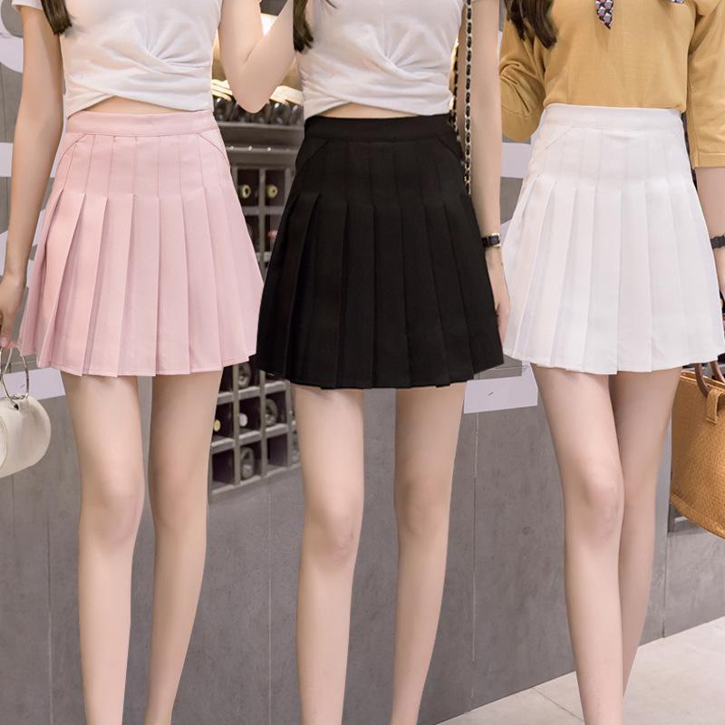 a58139b8 Kobiet wysokiej talii stałe linii mini plisowane krótkie spódnice Plus  rozmiar mundurek szkolny