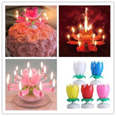 New Flower Decorative Candles Amazing Romantic Musical Lotus Rotating