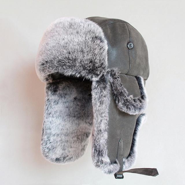 MENS RUSSIAN FUR COSSACK HAT winter grey trapper Gents small warm hiking Ushanka