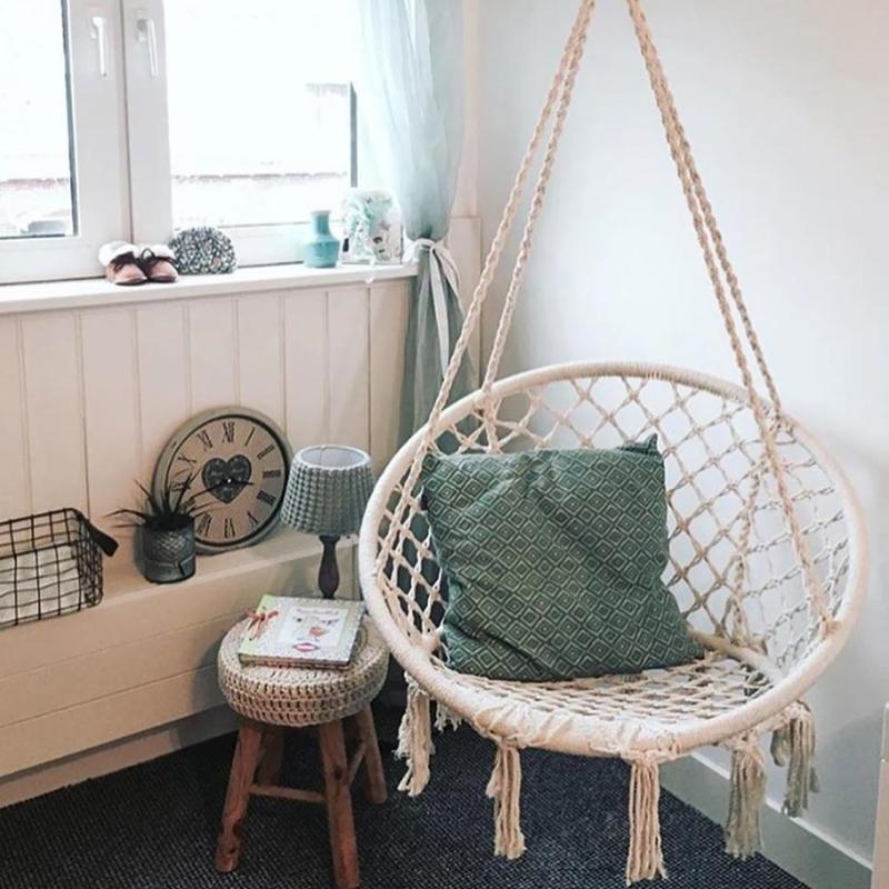 Macrame cuerda hamaca silla porche Swing asiento jardín colgante ...