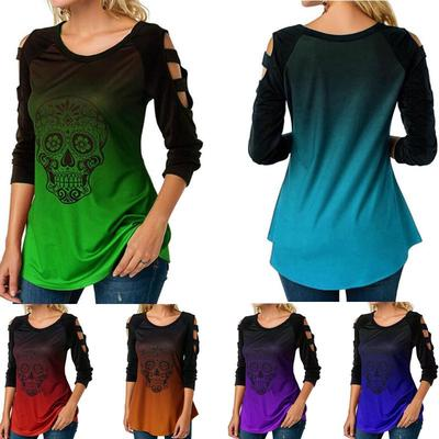 Womens Hollow Cold Shoulder Tops Ladies Long Sleeve Skull Print Halloween Shirts