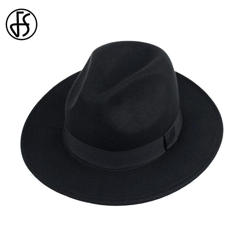 24e4e6bf2bb63 Transbordando de inverno unissex preto largo Vintage Panamá Fedoras chapéu  Curl mulheres Trilby Jazz bonés Gorros de Hip-Hop