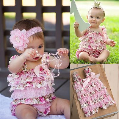 Newborn Toddler Baby Kid Girls Romper Ruffle Lace Cake Floral Jumpsuit Outfits