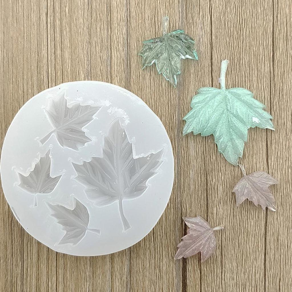 Rose Flower Maple Leaves Cake Decor Resin Pendant Silicone Molds Jewelry Tool