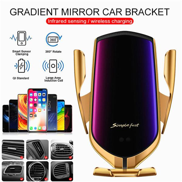 Intelligent Wireless Car Charger Phone Holder Qi Fast Charging Infrared Sensor Automatic Clamping