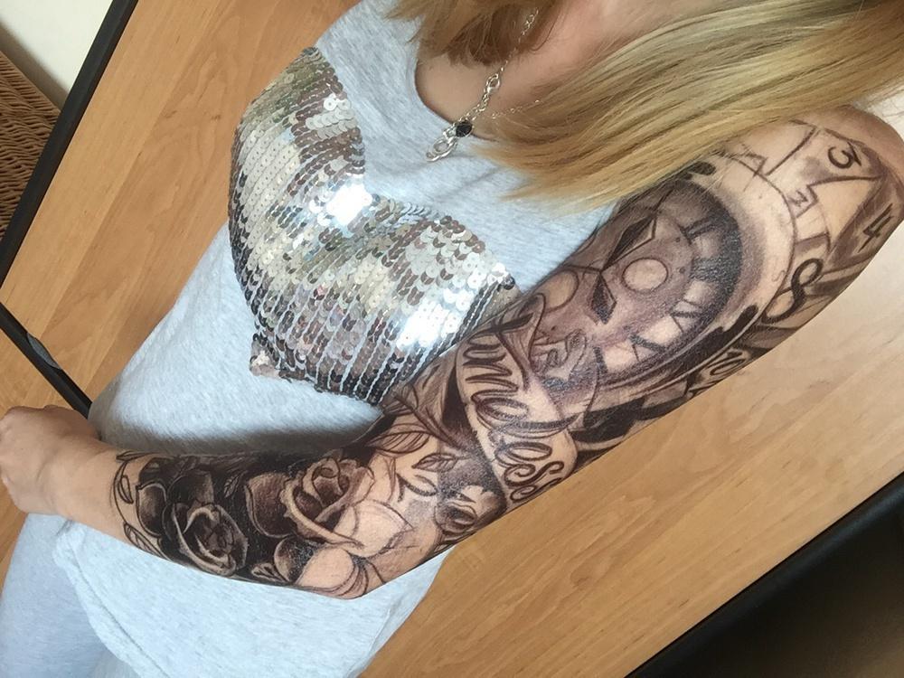 Full Arm Flower Tattoo Sticker Wodoodporna Tymczasowa Koszulka Mężczyźni Kobiety Fałszywe Tatoo