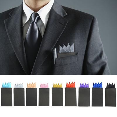 Mens Pre-Folded Wedding Party Pocket Square Handkerchiefs Chestpiece Multi-Color