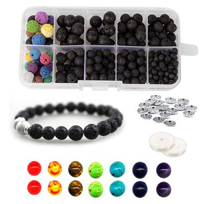410pcs Colorful Chakra Beads Lava Rock Stones with Box for Jewelry DIY