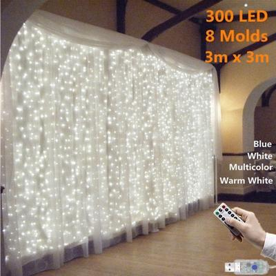 8 Modes 9 Colors Remote Control USB Port Curtain Light for Party LED String Light Birthday Decoration Romantic Fairy Garland 300/200/100 LEDs