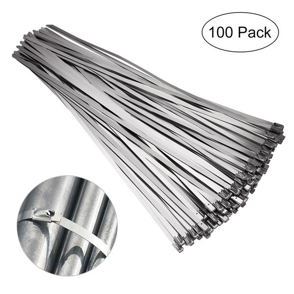 """Zaciski, łączniki i opaski Stainless Steel Cable Zip Ties 12"""" Self Locking Straps Exhaust Wrap 4.6mm 10Pcs"""