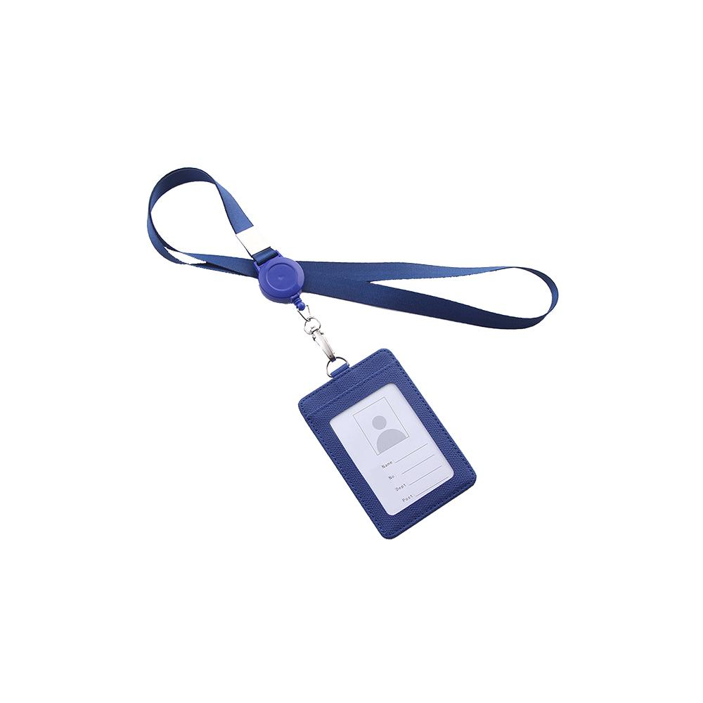 Details about  /PU Leather Work ID Bus Card Badge Cover Case Wallet Holder With Neck Lanyard New
