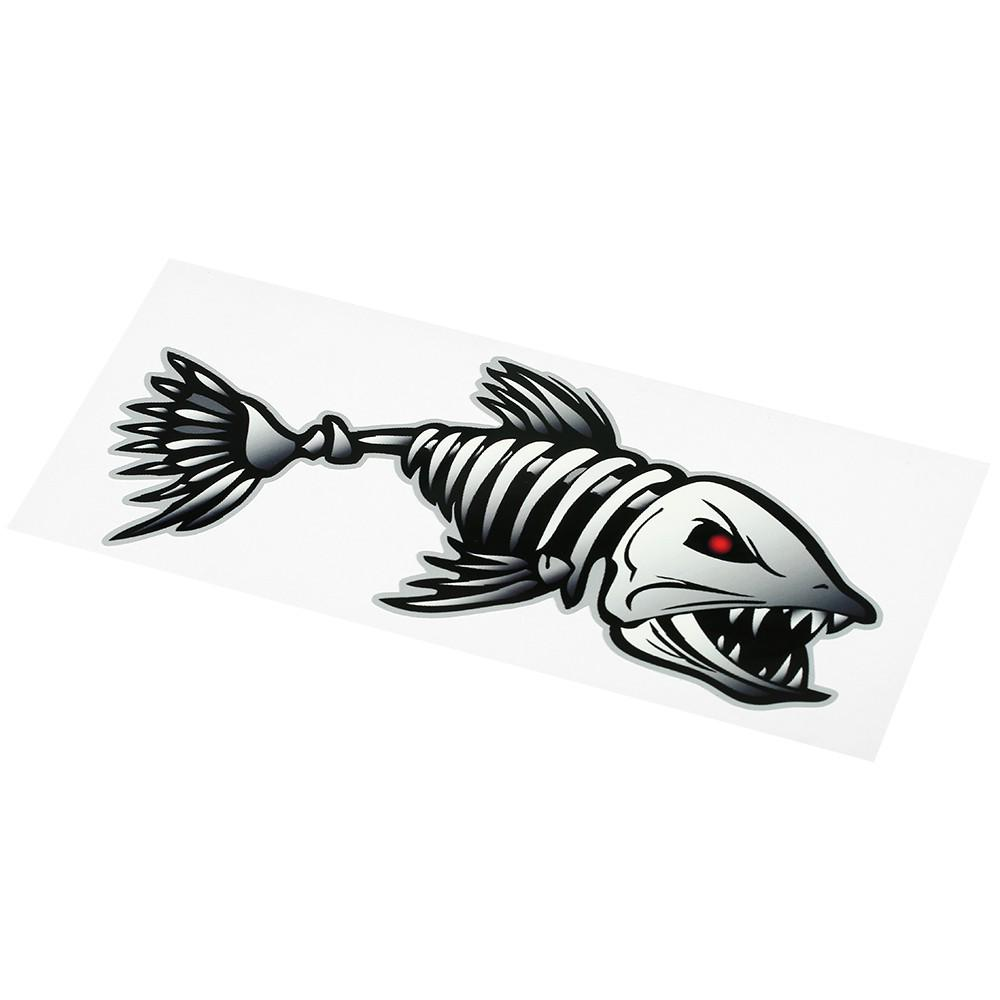 2 Pieces Fish Teeth Mouth Stickers Skeleton Fish Stickers Kayak Accessories Fish