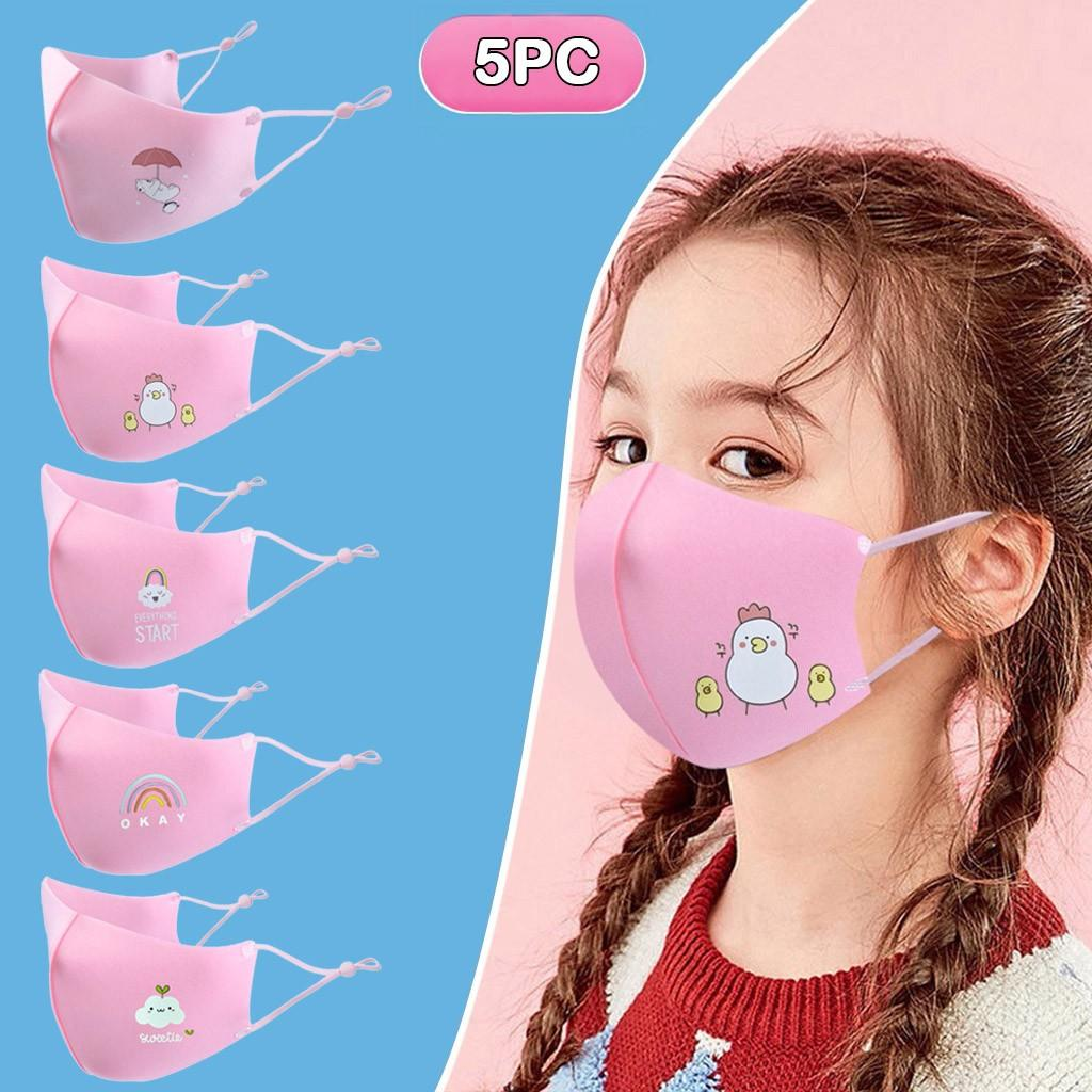5PCS Cartoon Solid Color Kids Anti-pollution Cute Mouth Anti-dust Face