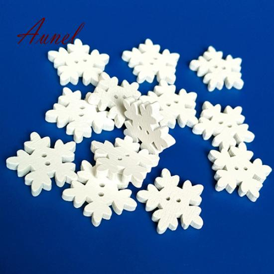 100pcs Christmas Holiday Wooden Collection Snowflakes Buttons Snowflakes Embellishments 18mm Creative Decoration Home & Garden Arts,crafts & Sewing