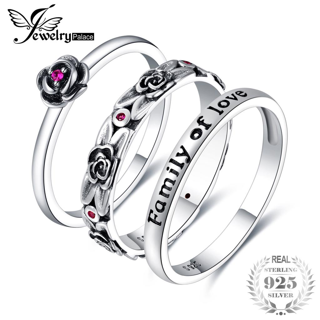 243849eb8a JewelryPalace Vintage Created Ruby Flower Engraved Enamel Stackable ...