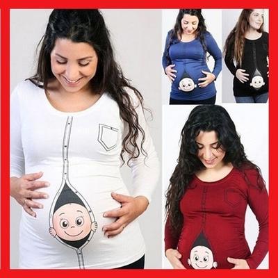 6d445e47d Ropa de embarazo de la señora historieta impresión Casual manga larga  suelta ronda cuello camisa de